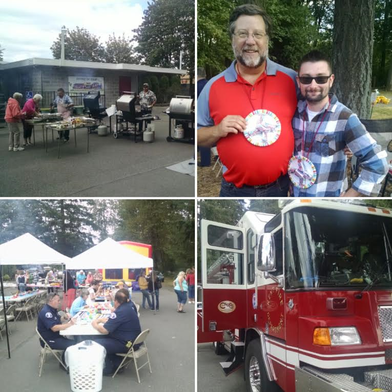 Clockwise from top left: The grill team (Jeff, Curt & Declan) cooked some great burgers without burning down the bounce house; Mike & Corey took the silver medal in the water balloon toss; Kent Fire Station 78 joined in on the fun; and there was plenty of grub to be had!
