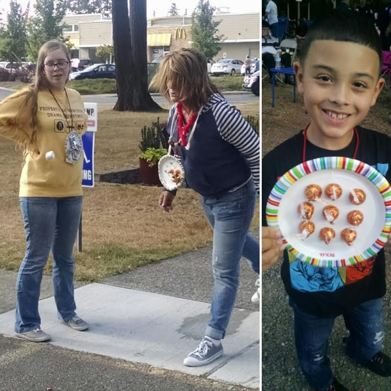 Left: The Marshmallow Javelin competition. Pastor Mark took gold, while Tom Russell took silver.  Right: Bronze medal winner!