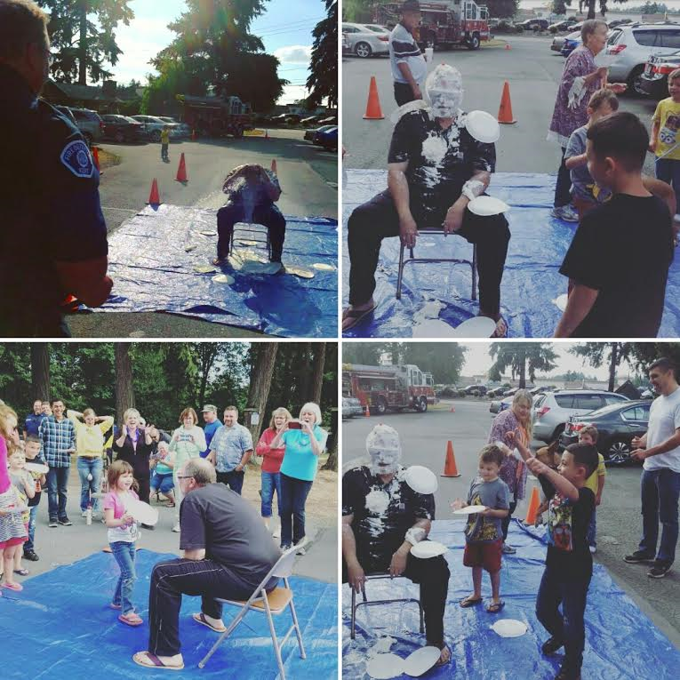 Pie the Pastor! The kids, the grown ups, and Fire Station 78 all got in on the action to raise a few bucks for our benevolence ministry. Station 78 cleaned him up with a fire extinguisher.