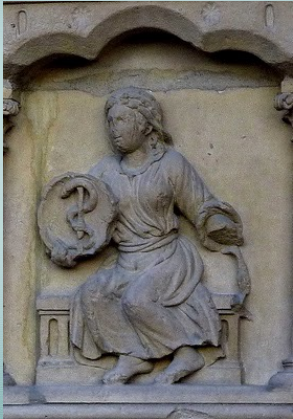 Man with shield of caduceus