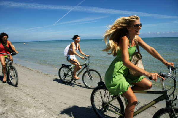 Summer Day Fun! Who wants to worry about sunburn after a bike ride on the beach?