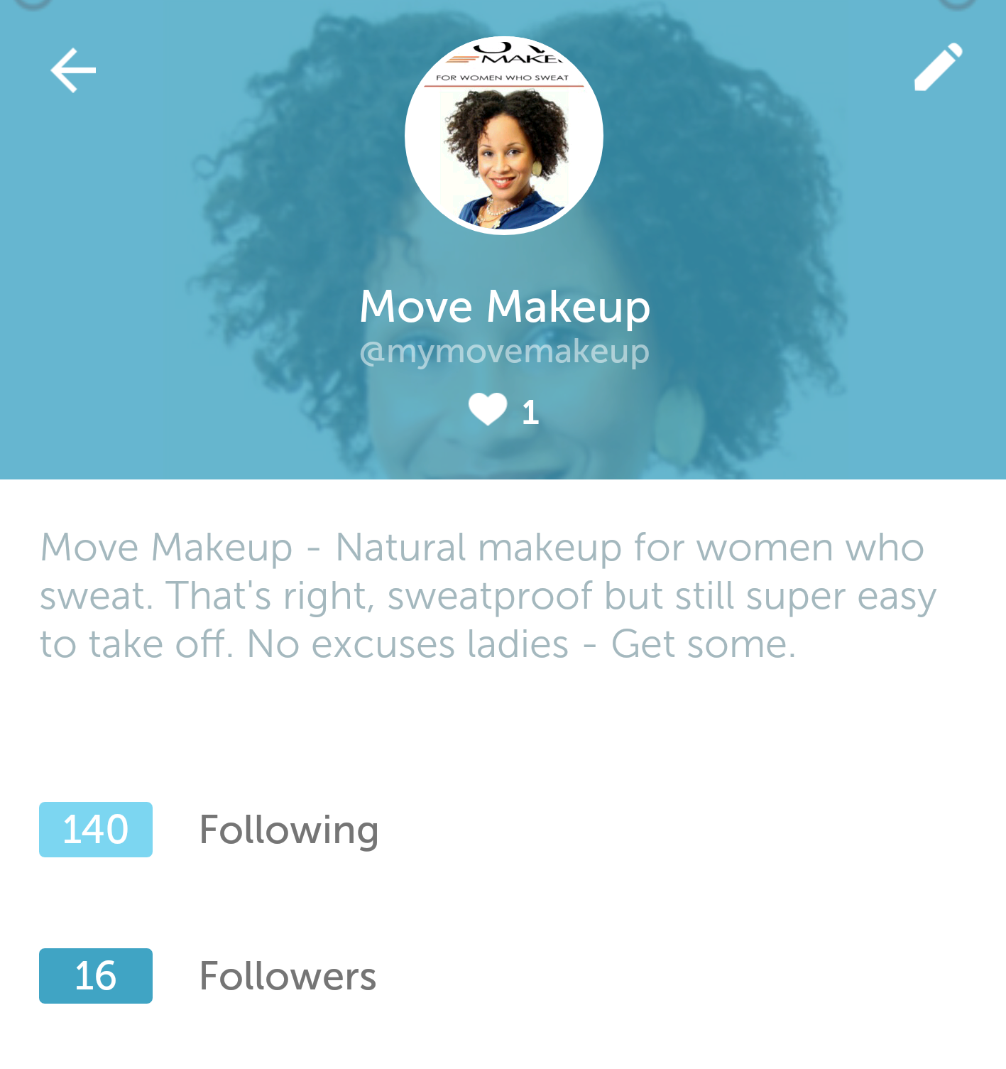 As you can see, Move Makeup needs more followers and more friends to follow!