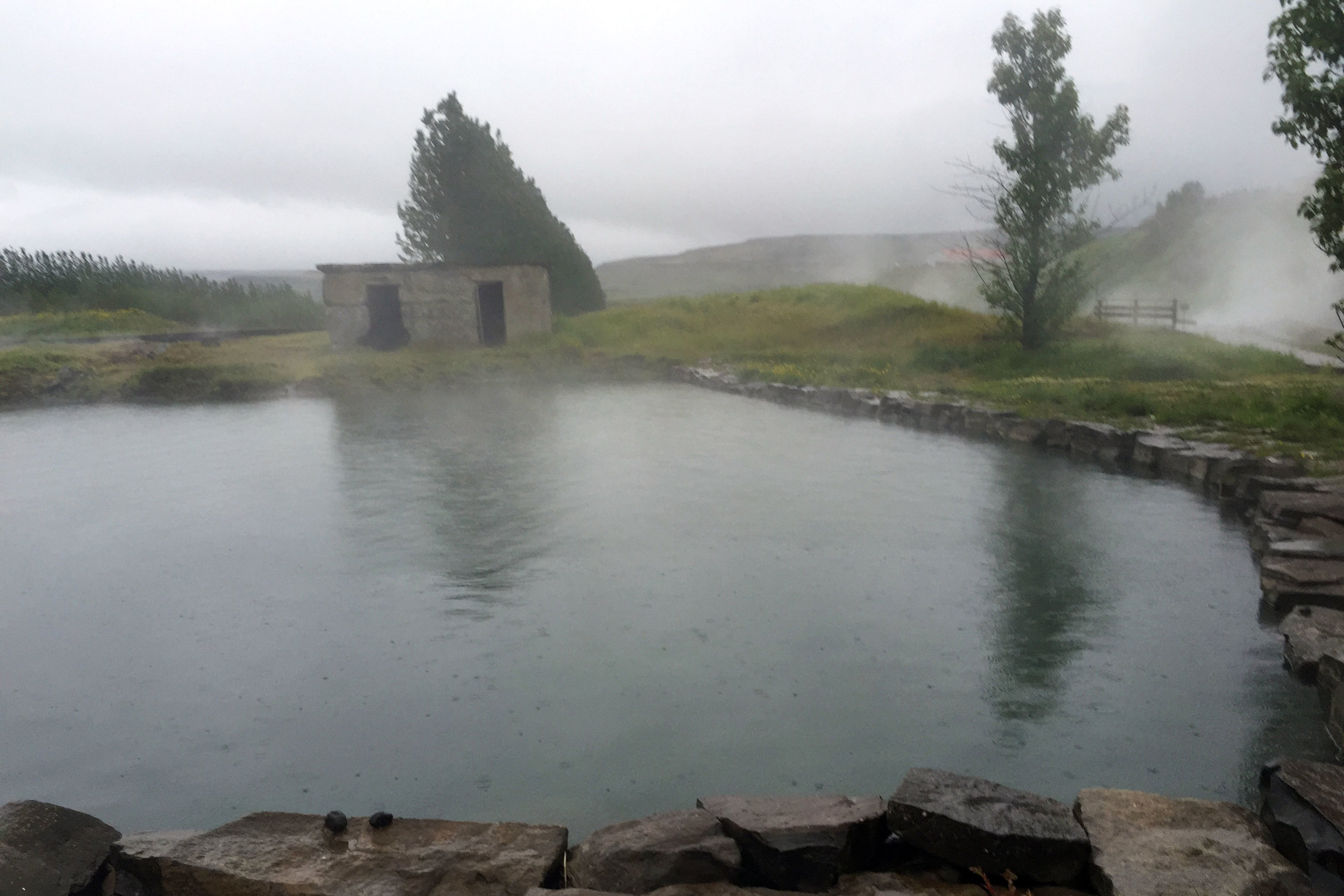 The Secret Lagoon. Our goal in Iceland was to soak in hot water at least once a day. This was our first night.
