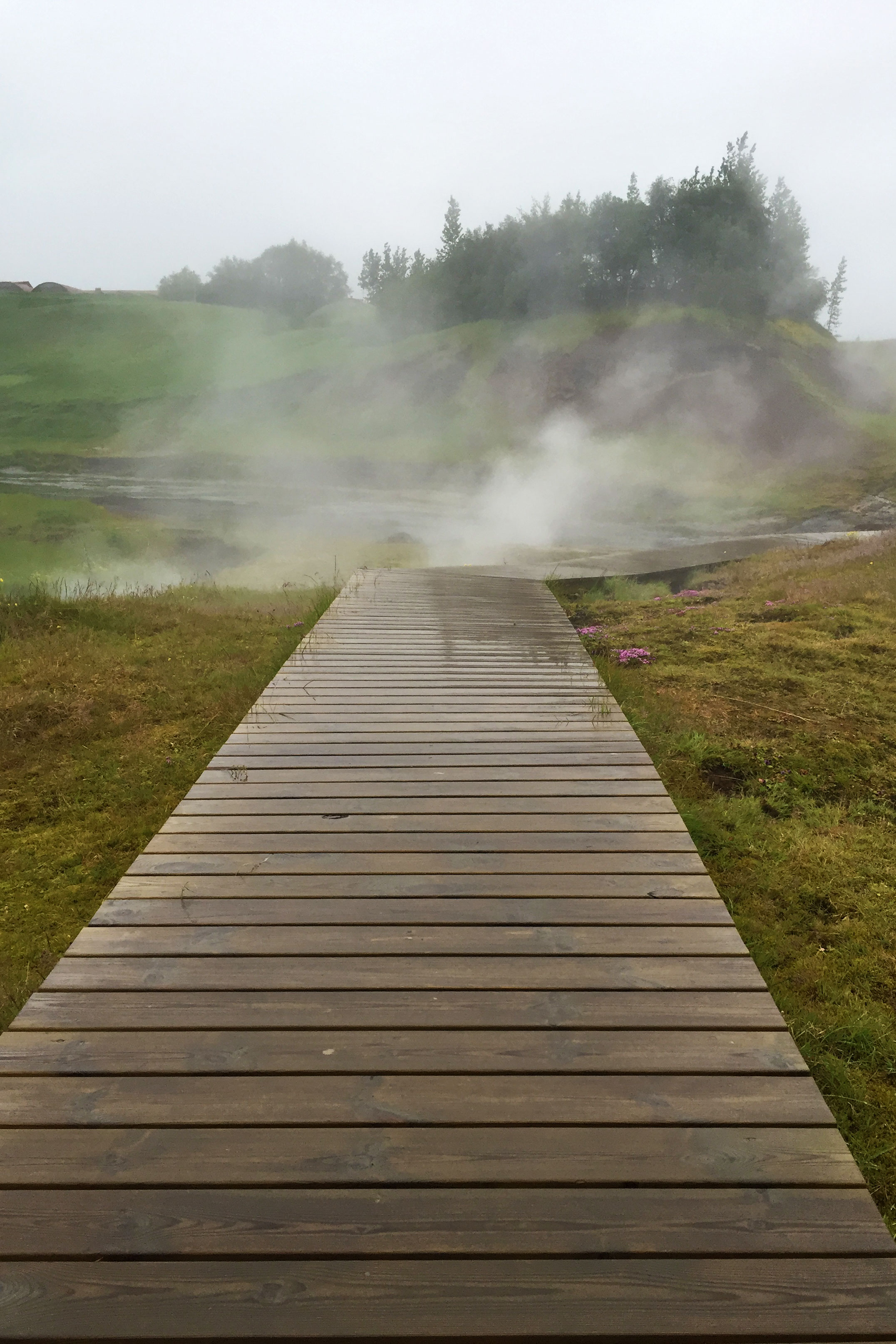A path to the geysers at The Secret Lagoon.