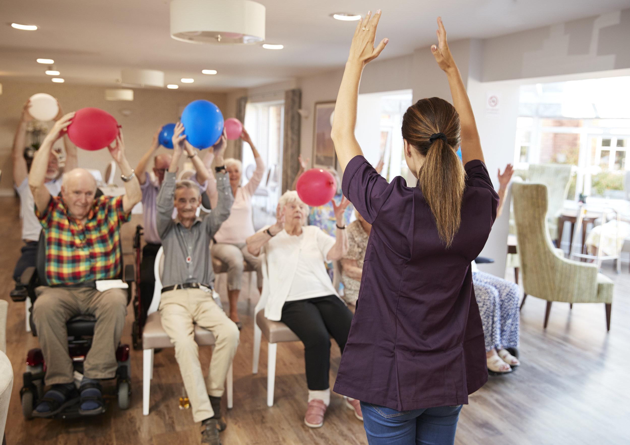 Seniors exercise class