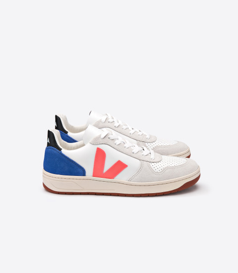 VEJA_V-10_LEATHER_EXTRA WHITE_ORANGE FLUO_INDIGO_LATERAL.jpeg