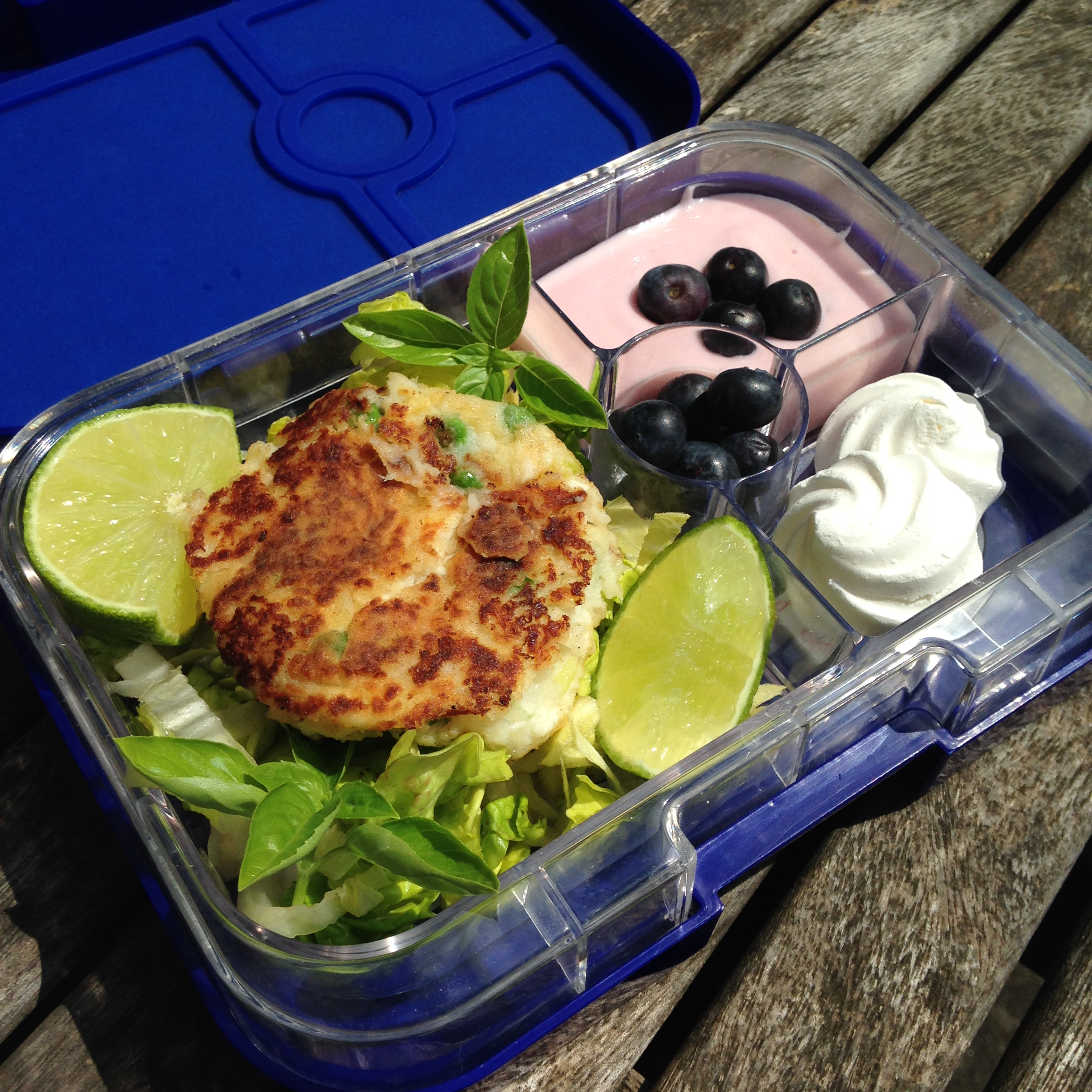 Myrtille Blue Yumbox Panino with Homemade Fish Cakes