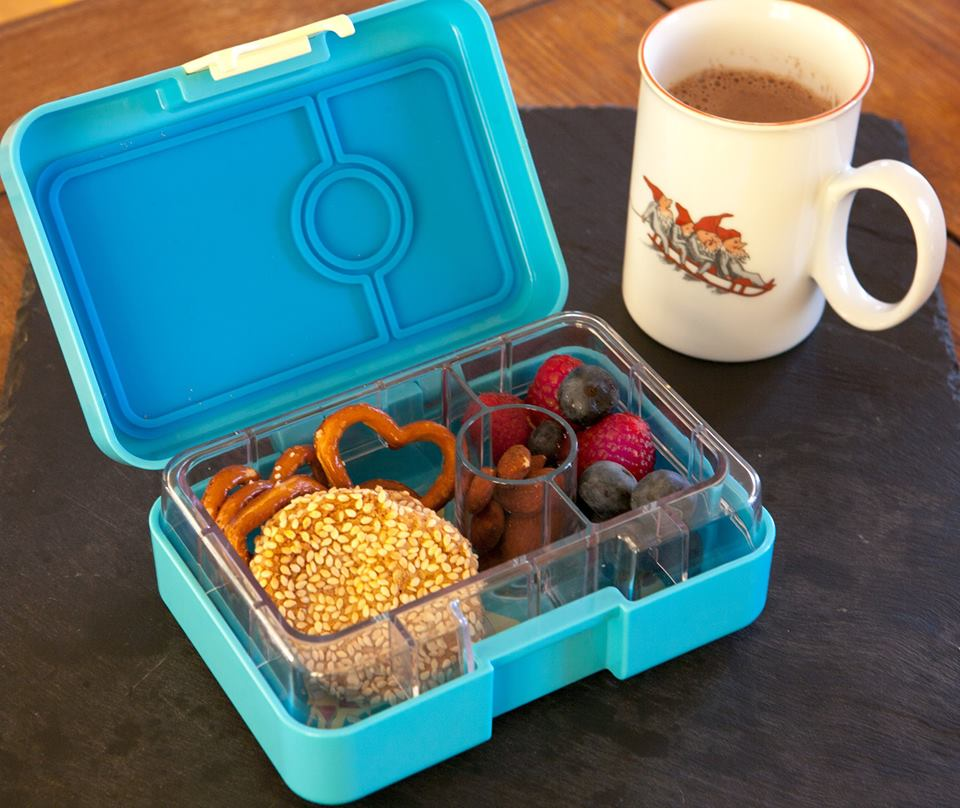 Yumbox Mini Snack in Cannes Blue with Hot Choc