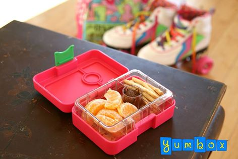 Yumbox Mini Snack Cherie Pink with Roller Skates