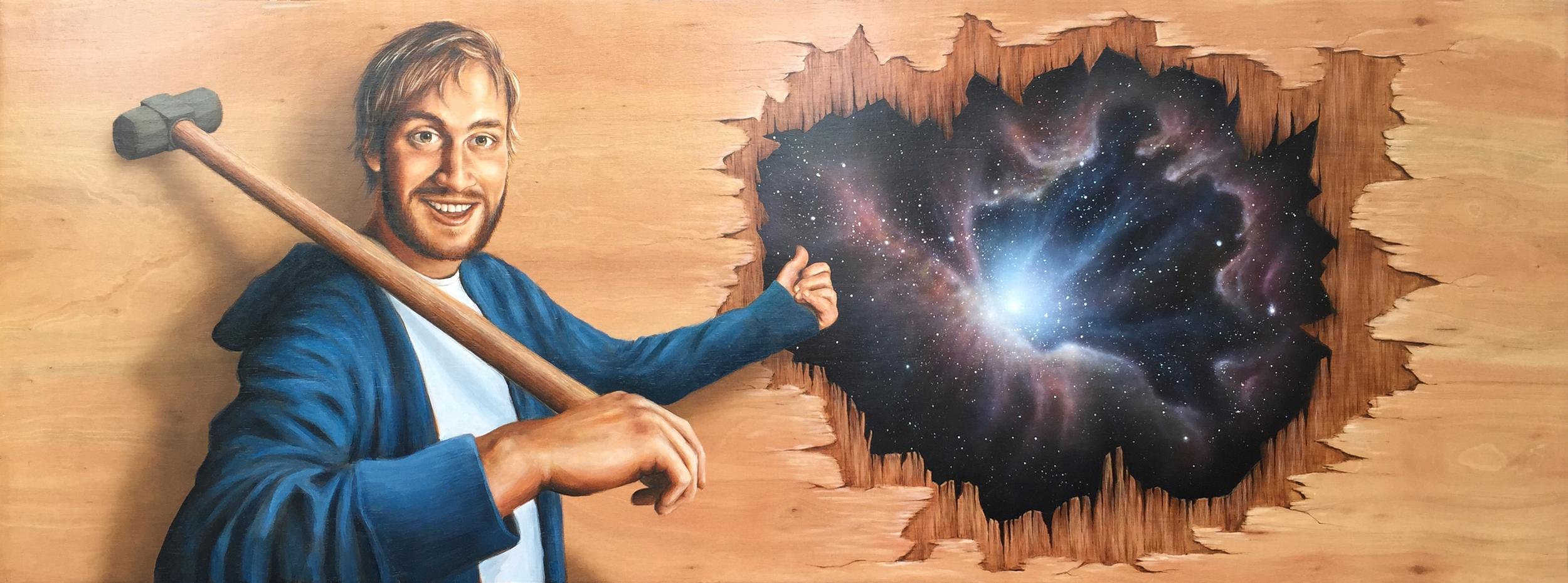 'Through the Wall' Oil on Board (90 x 250cm)