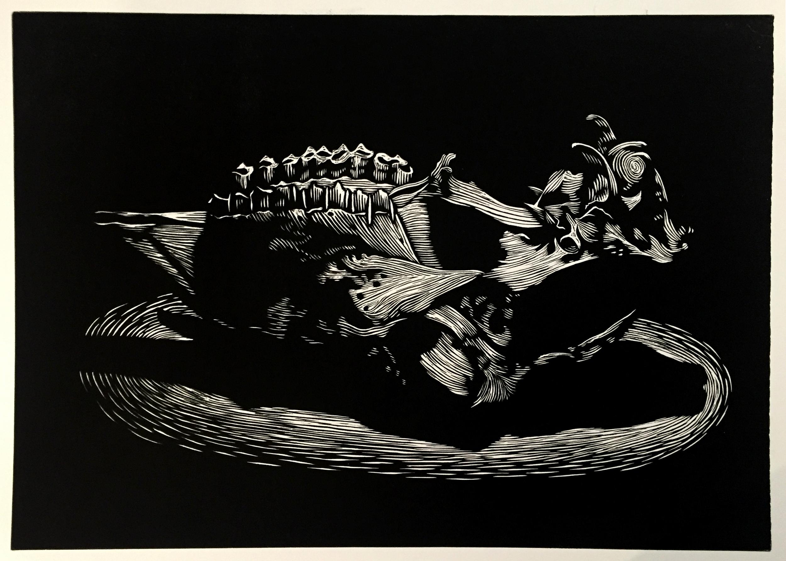 Lino Print on Paper (56x76cm)