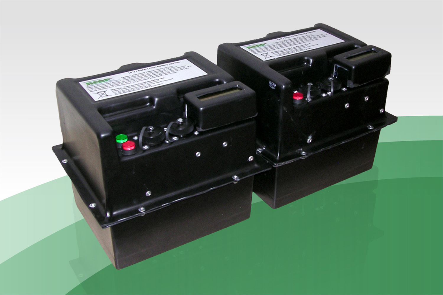 12V, 50Ah, large Li-Ion batteries, with full protection and state of charge calculation