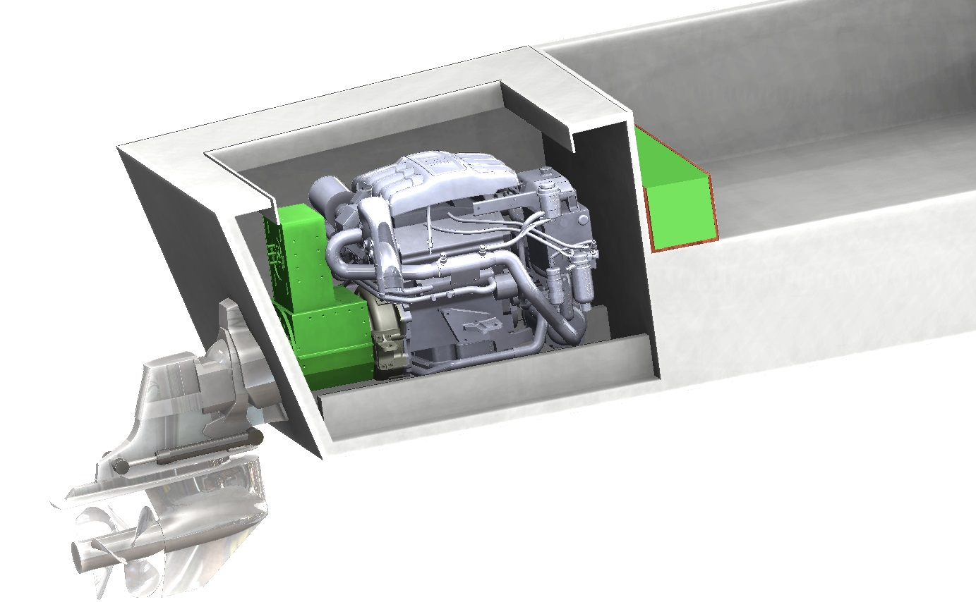 Rendered images of the hybrid diesel electric engine to be installed in our original Venice water taxi.