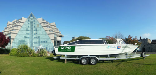 Hybrid Taxi Boat in front of Grand Harbour Hotel (Southampton, UK) during Hybrid Boat workshops.