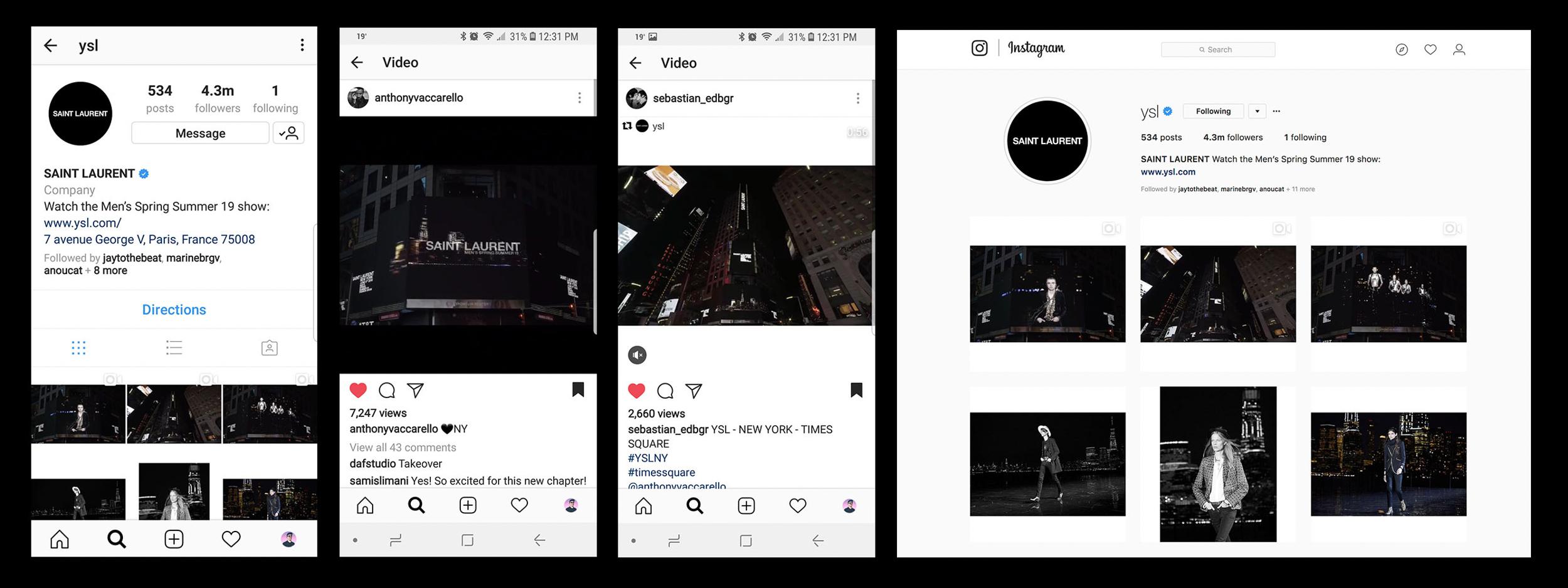 Compilation of Screenshots on @YSL Instagram -