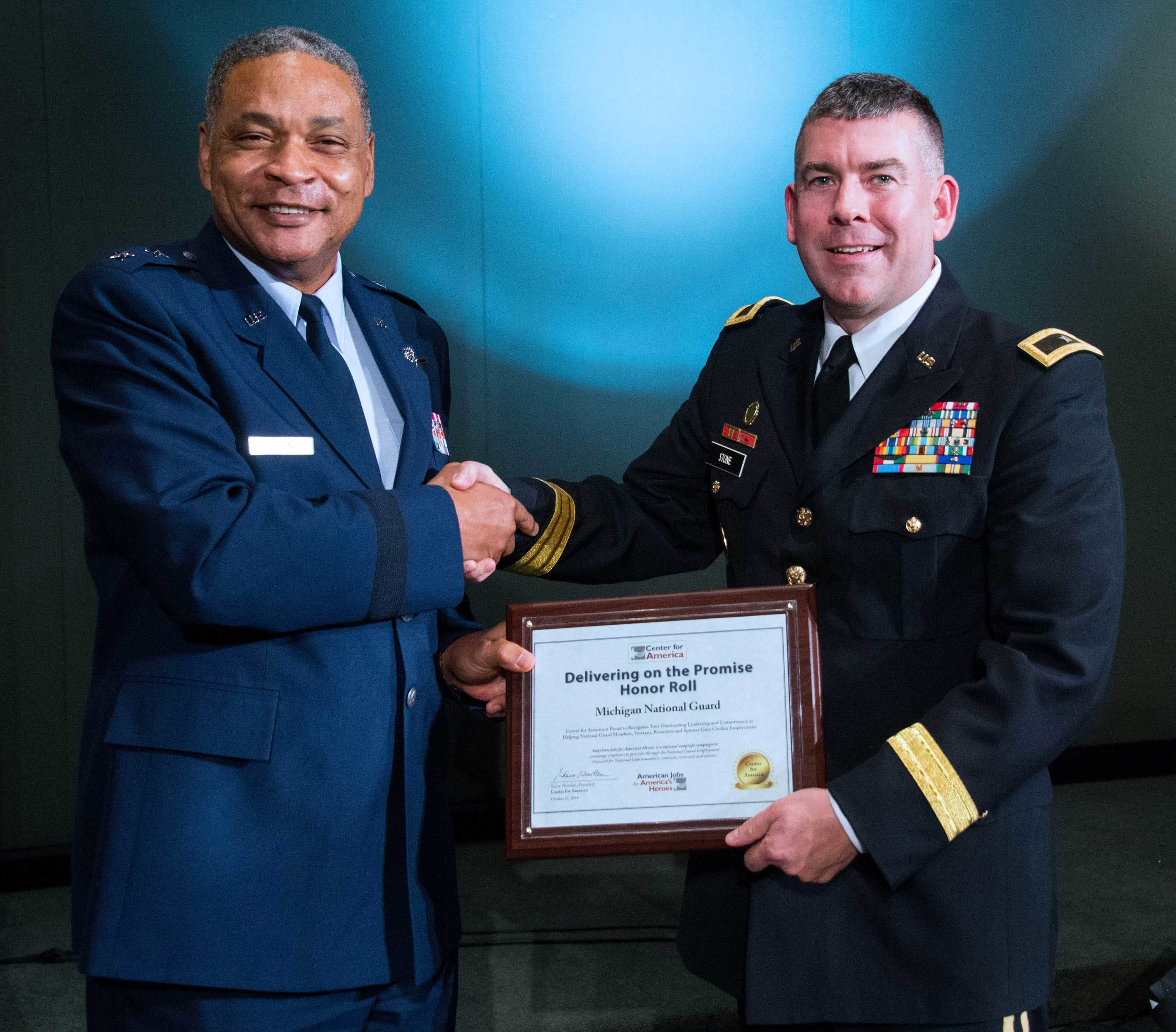 Major General Garry Dean presents the CFA Award to Brigadier General Michael Stone, Michigan National Guard