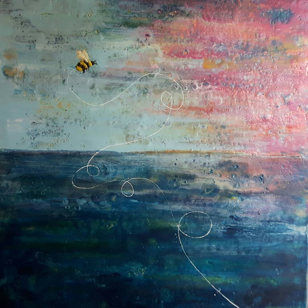 Flight of the Bumble Bee - 24x24 - encaustic