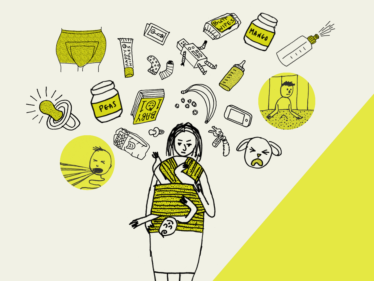 You bought all the books. You went to the prenatal classes. You listened to a whole lot of advice. All those Facebook friends posting pics of their adorable babies make it look so easy, right?   Read full article here    Co-produced with Ariel Brewster Art direction: me Illustrations: Anthony Swaneveld