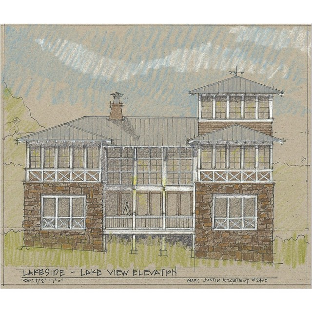 "This beautiful new design from @garyjustiss is sure to be a big hit at #LakesideAlabama. Two stories of windows facing the lake and a ""lookout"" tower. Views for days. #GaryJustissArchitect #SmithLake #Cullman #architecture #lakelife"