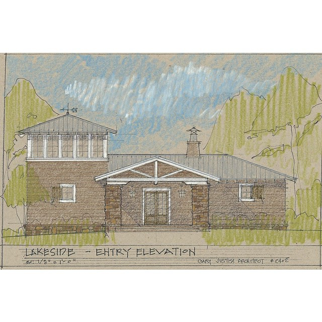This is the charming entry elevation to the latest plan from @garyjustiss. We are in love with the rustic character of this home. #garyjustissarchitect #LakesideAlabama #architecture #smithlake #lakelife