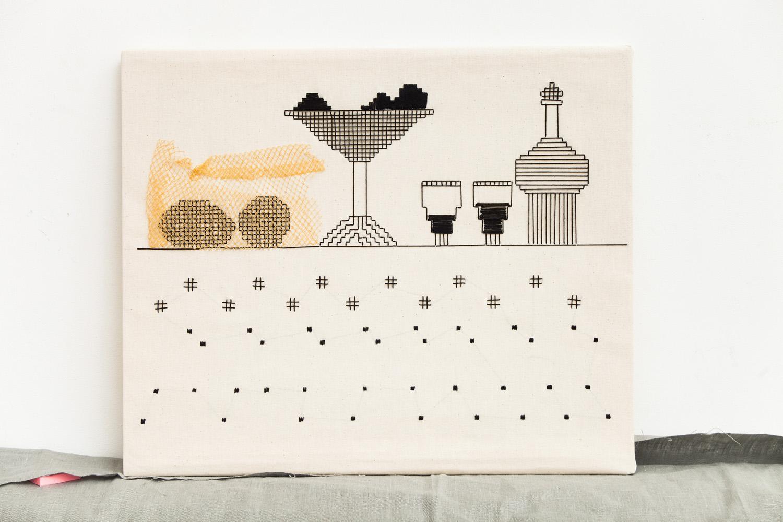 Linear    60x50 cm, linen fabric, embroidery, mixed media  solo exhibition, Roza Azora Gallery Moscow, October 2014  © lisa olshanskaya
