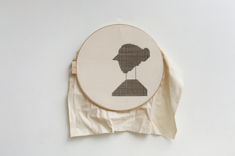 Linear #2   D. 58 cm, linen fabric, embroidery  solo exhibition, Roza Azora Gallery Moscow, October 2014  © lisa olshanskaya