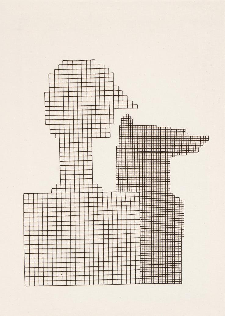 Linear    50x70 cm, linen fabric, embroidery  solo exhibition, Roza Azora Gallery Moscow, October 2014  © lisa olshanskaya