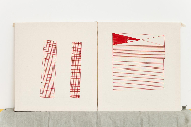 Linear    60x65 cm each, linen fabric, embroidery  solo exhibition, Roza Azora Gallery Moscow, October 2014  © lisa olshanskaya