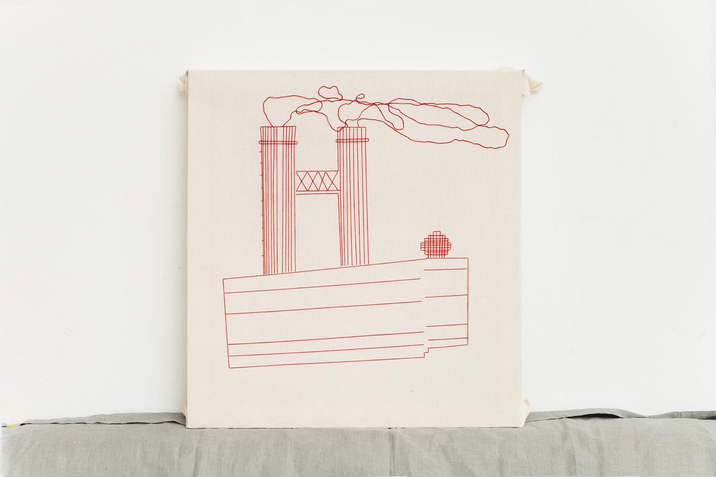 Linear    60x65 cm, linen fabric, embroidery  solo exhibition, Roza Azora Gallery Moscow, October 2014  © lisa olshanskaya