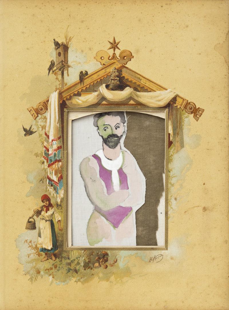 textile / mixed media /   antique   chromolithograph   album   23x31,5 cm  2013 solo exhibition / Roza Azora Gallery, Moscow  private collection  © lisa olshanskaya