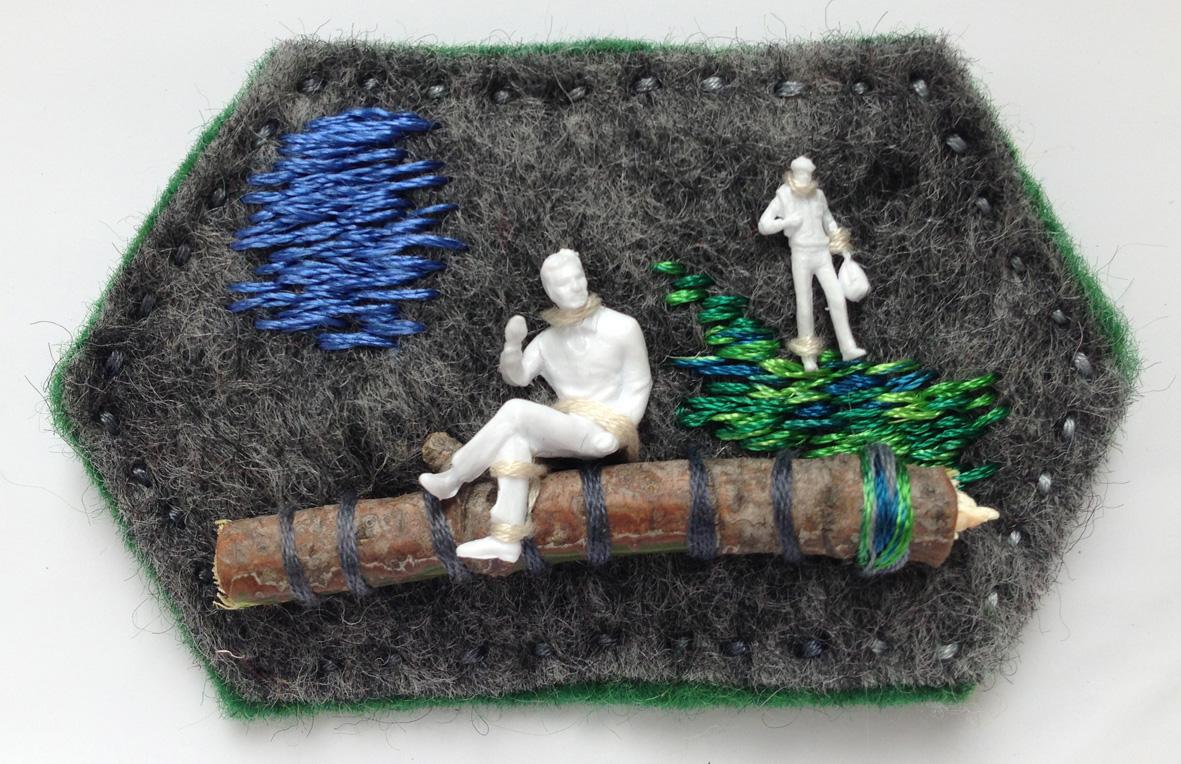 """mini object / brooch   embroidery / mixed media  2013 solo exhibition """"Random Images"""" Roza Azora Gallery, Moscow  © lisa olshanskaya"""
