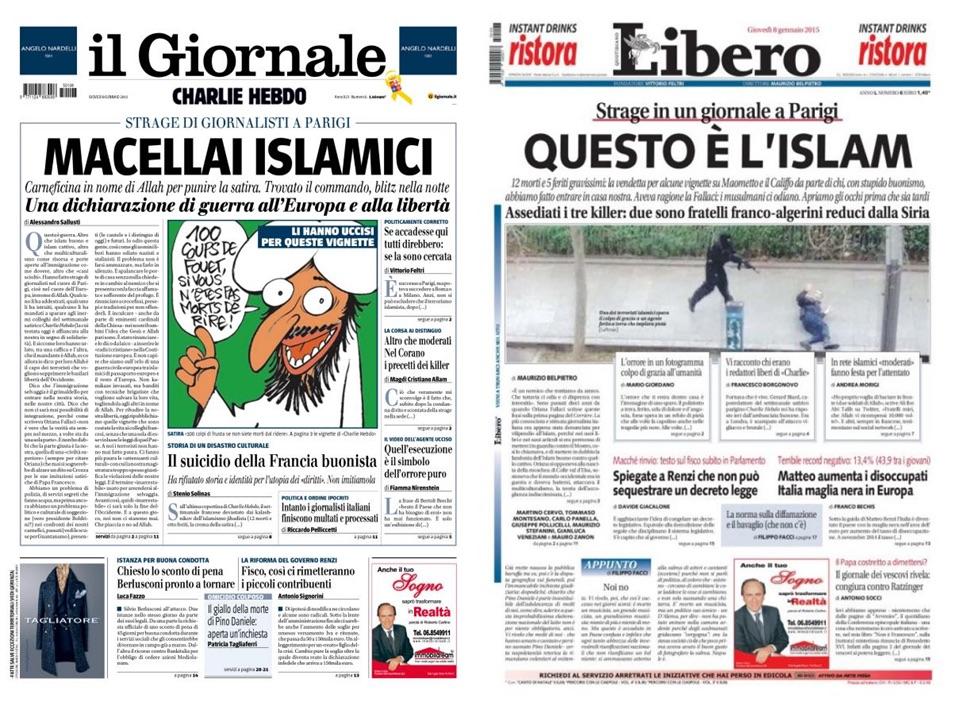 Le prime pagine deil Giornale e Libero del 8 gennaio 2015