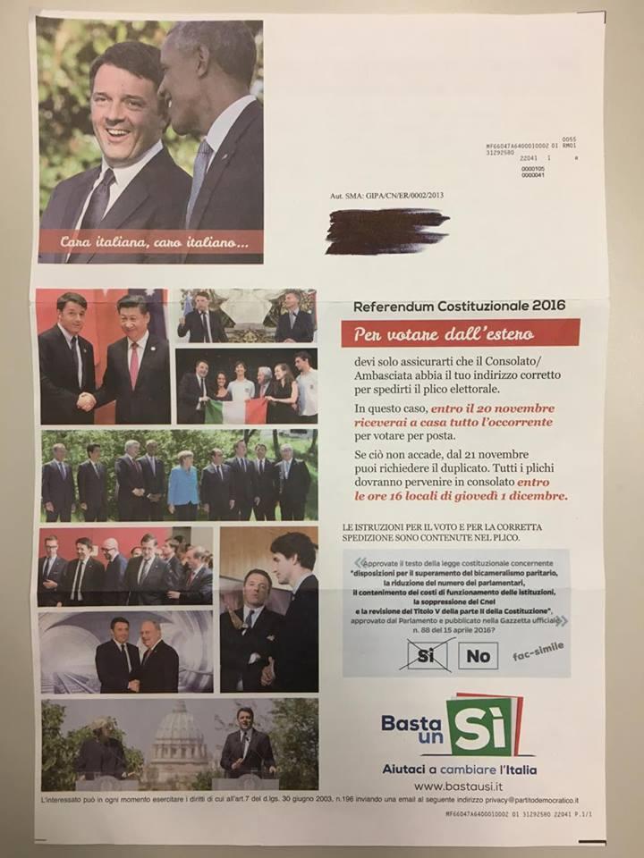 Lettera ricevuta da un lavoratore italiano residente in Svizzera