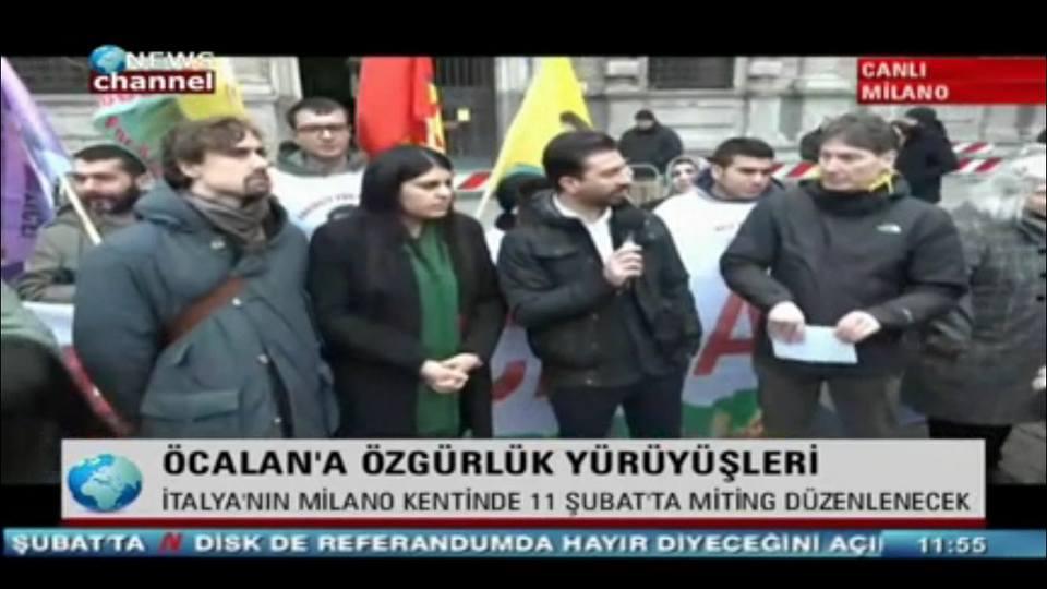 la conferenza stampa di Milano è stata trasmessa anche da un tv curda