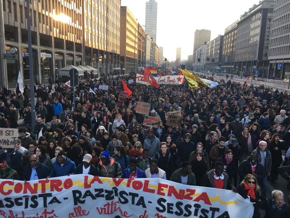Manifestazione in solidarietà con le vittime di Macerata, Milano, 10 febbraio 2018