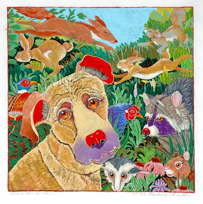 Lola's Landscape $550  hand colored woodcut 28 x 28