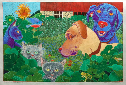 Guardians of the Garden $900  hand colored woodcut 20 x 29