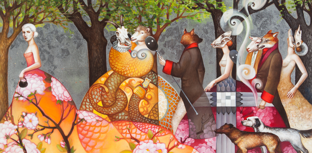 Hungry Ghosts  oil and silver leaf on panel 12 x 24 SOLD