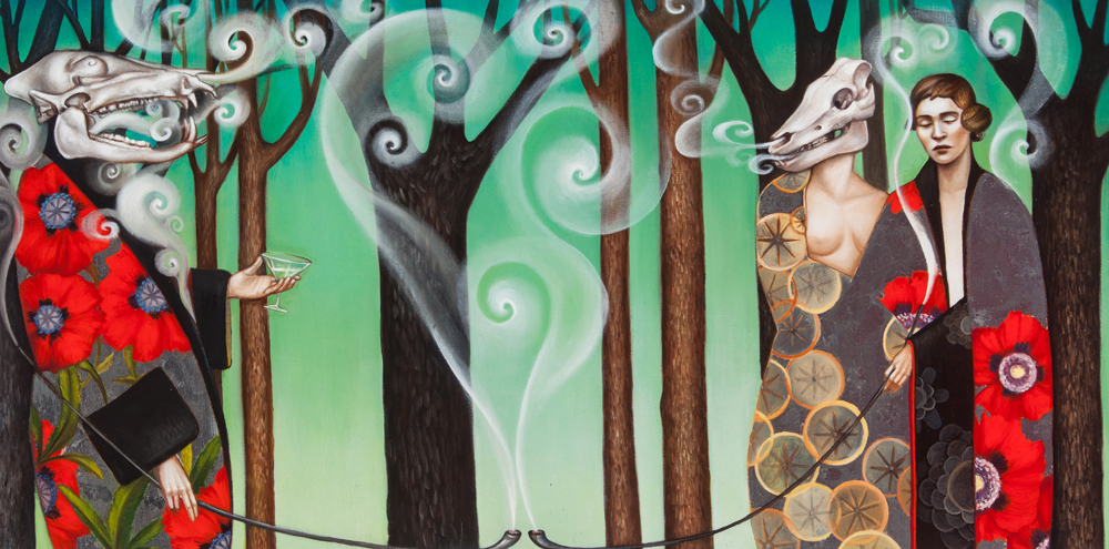Love  oil and silver leaf on panel 12 x 24 SOLD
