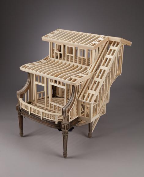 Sit/Stand $5,400  pine, found mahogany chair 39 x 33 x 40