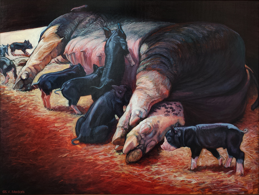 Quality Production oil on panel 38 x 48 $3,500