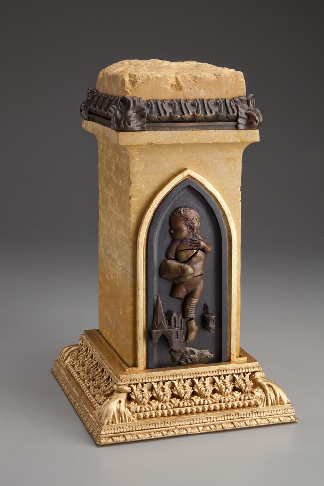 Figure Thirteen - The Disease of the Displaced Child $4,000  bronze, Minnesota limestone, wood, resin, acrylic, gold leaf 15 x 8.5 x x 8.5