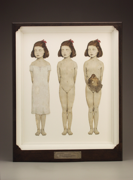 Figure Three - Ternary Degrees of a Girlchild $1200  lithograph prints, acrylic, stained oak, fabric, magnesium, glass 28 x 22.5 x 3.5