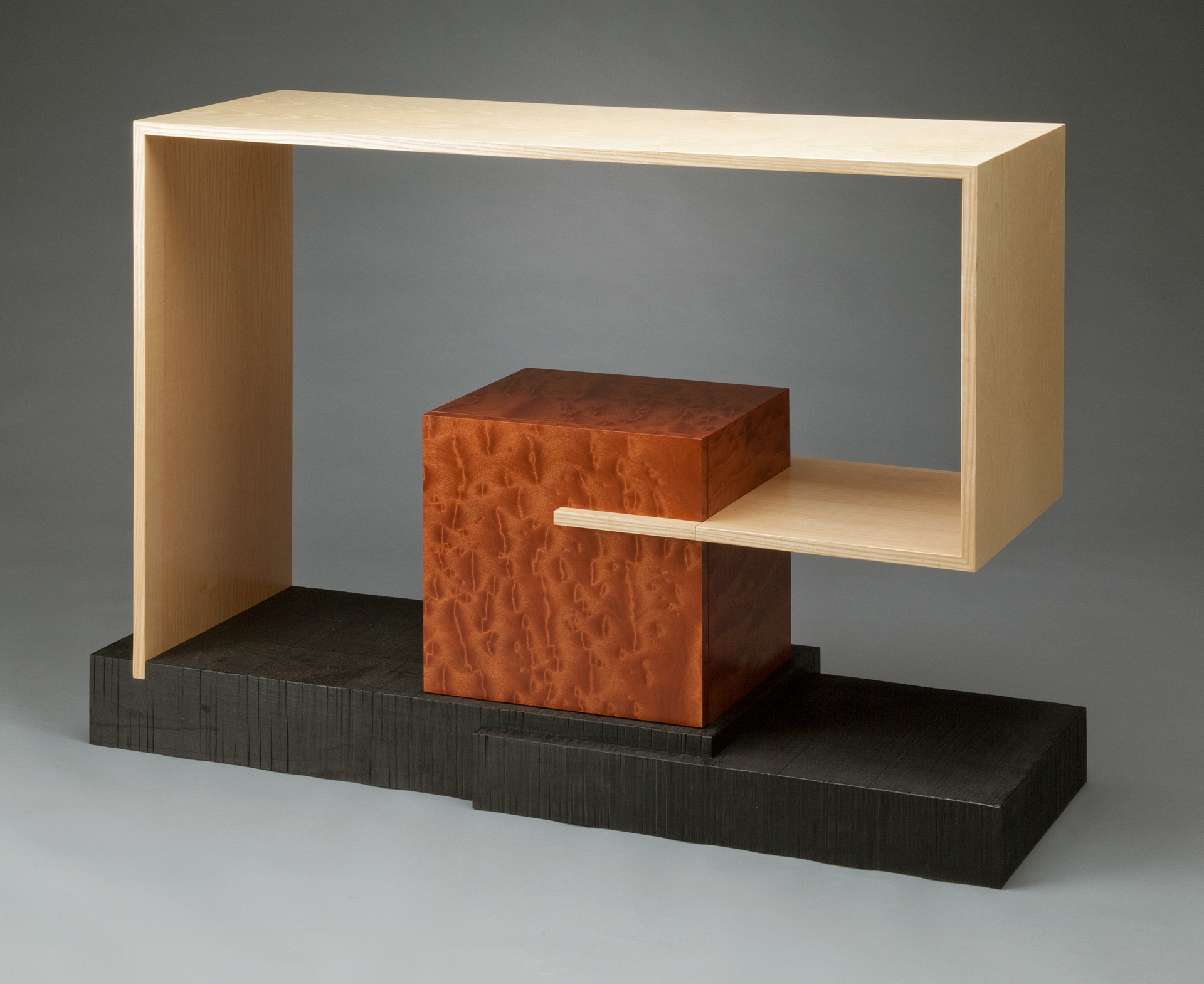 Holl Table $2700  white ash, pommele sapele, burnt rough sewn poplar 35 x 47 x 15