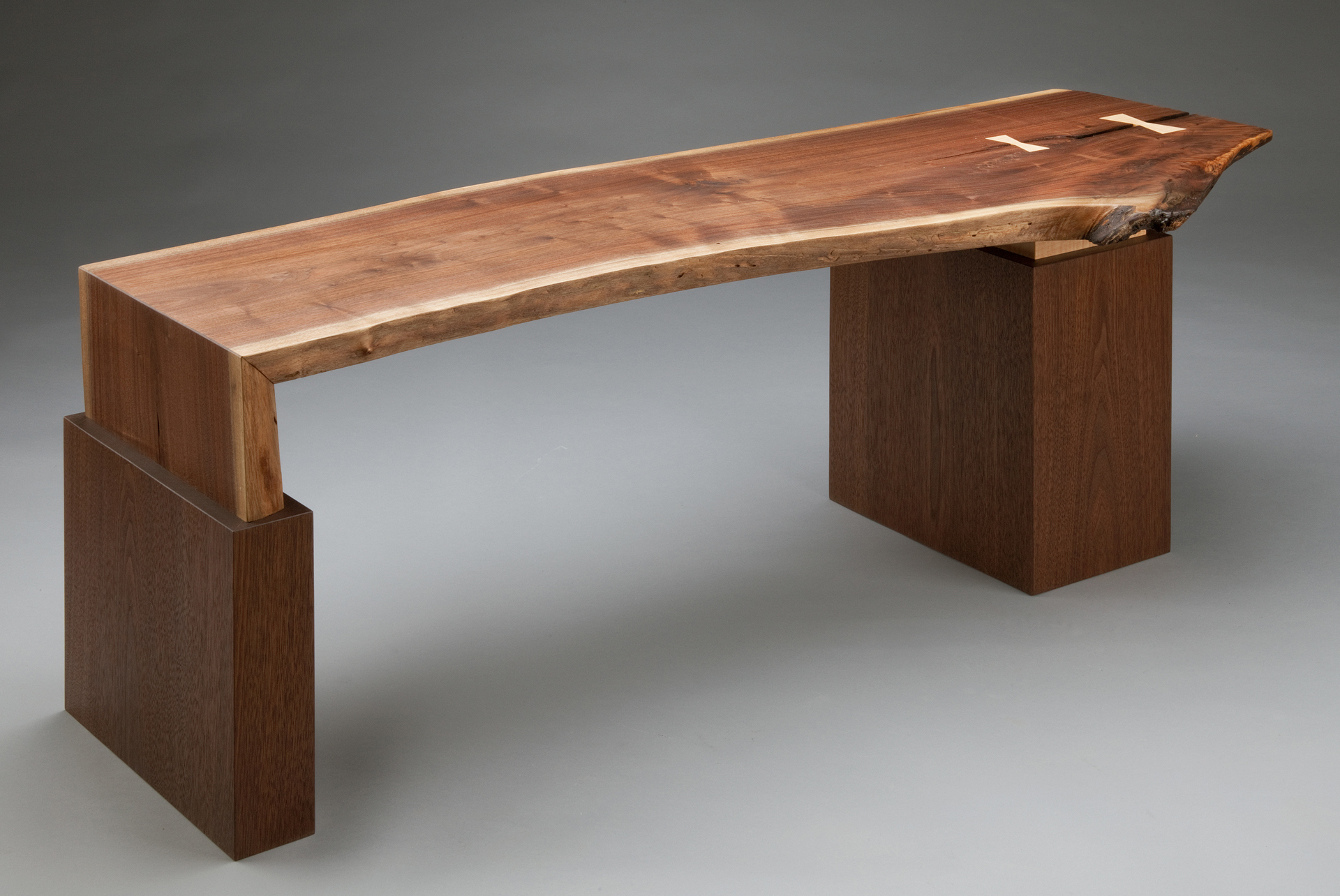 Live Edge Bench SOLD  black walnut and curly maple 20 x 53 x 18