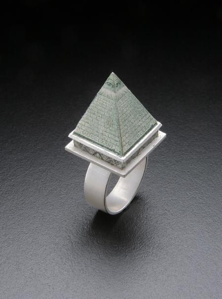 Pyramid Scheme SOLD  sterling silver, dollar bill