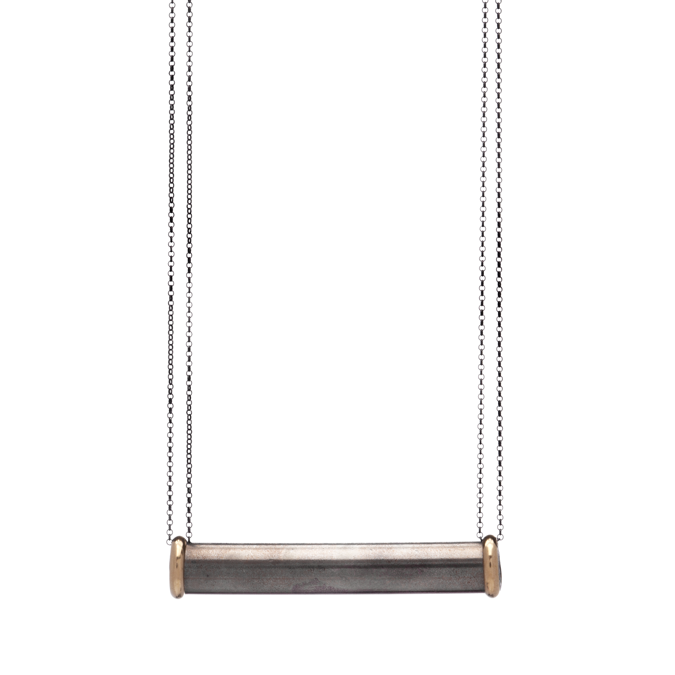 Rosy Brass Capped Lat Necklace $90  brass, oxidized sterling silver, steel