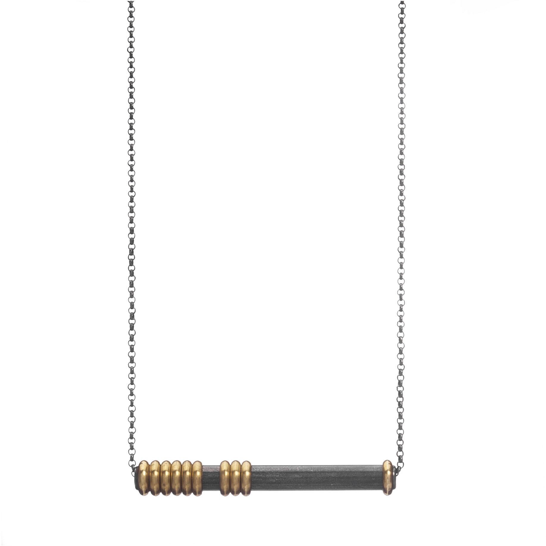 Abacus LatNecklace $85  steel bar, brass beads, oxidized sterling