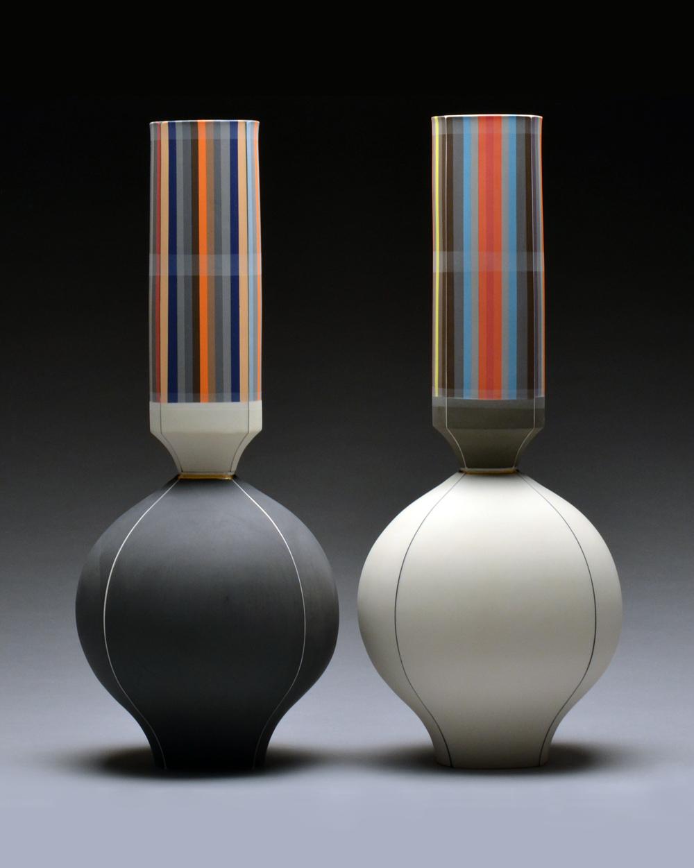 Left Vase SOLD Right Vase SOLD  porcelain 19 x 8 x 8