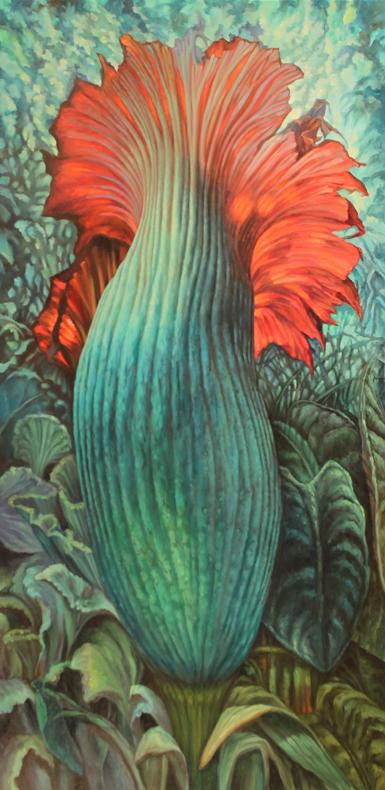 Blue Corpse Flower $4,200  oil on panel 48 x 24